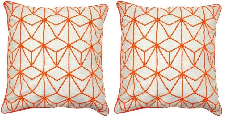 S/2 Hana 22x22 Cotton Pillows, Orange