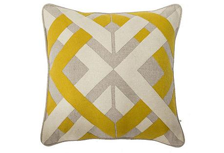 Trafico 18x18 Pillow, Yellow