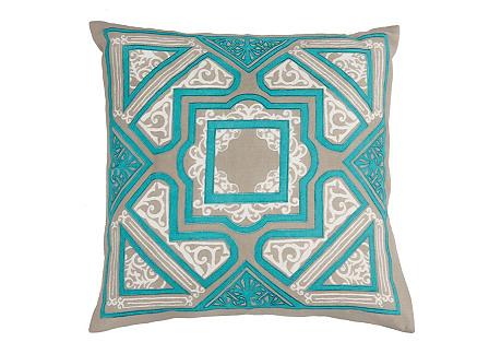 Tori 18x18 Pillow, Teal