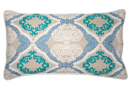 Sabrina 14x26 Pillow, Natural/Teal