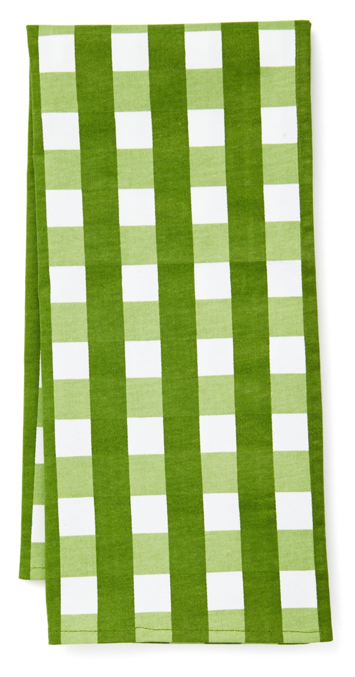 S/6 Gingham Kitchen Towels, Green