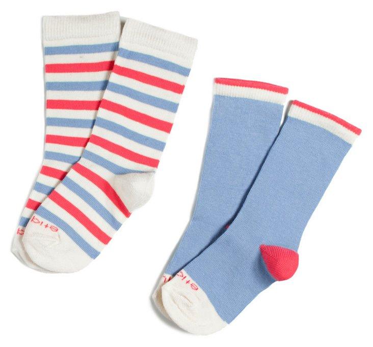 S/4 Kids' Happy Stripes Socks, Blue/Pink