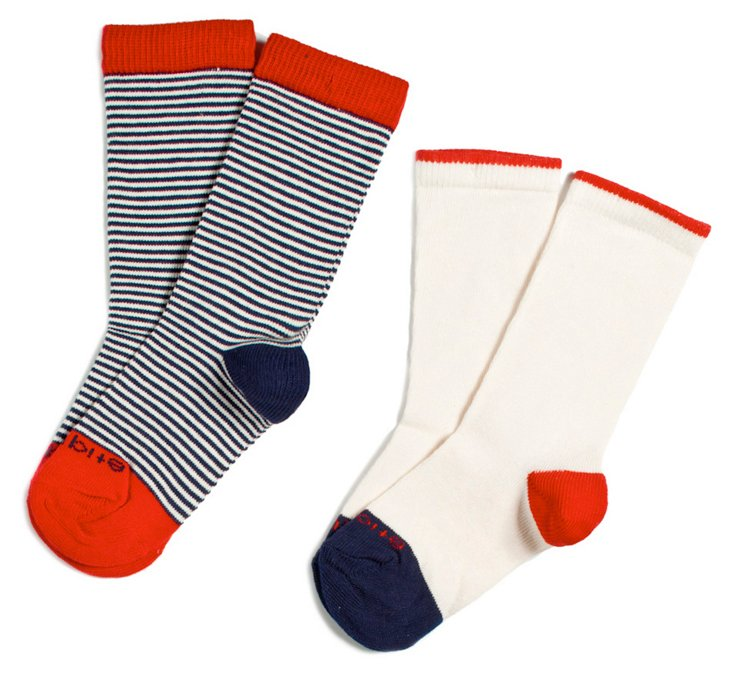S/2 Kids Sailor Stripes Socks Blue/Red