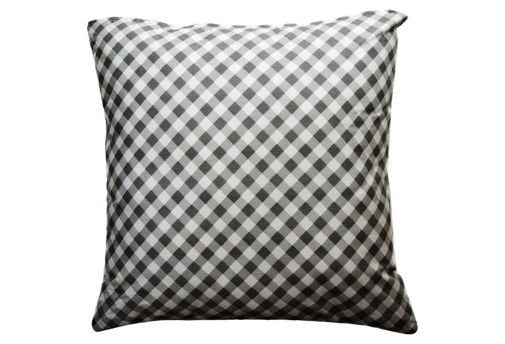 Check 20x20 Pillow, Black