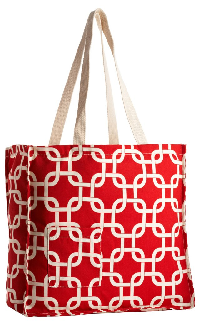 Trellis Tote Bag, Red