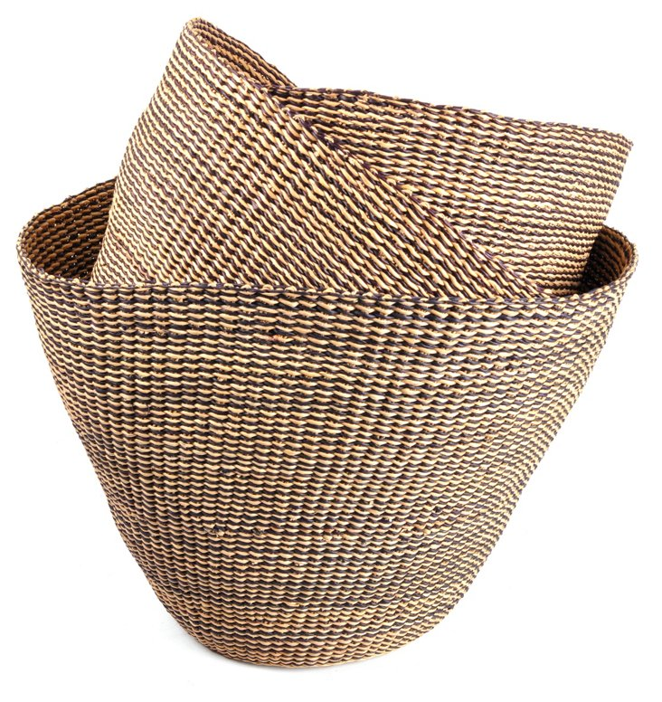 Asst of 3 Bolga Nesting Baskets, Black