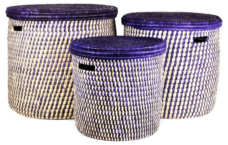 Asst of 3 Turkana Hampers, Violet