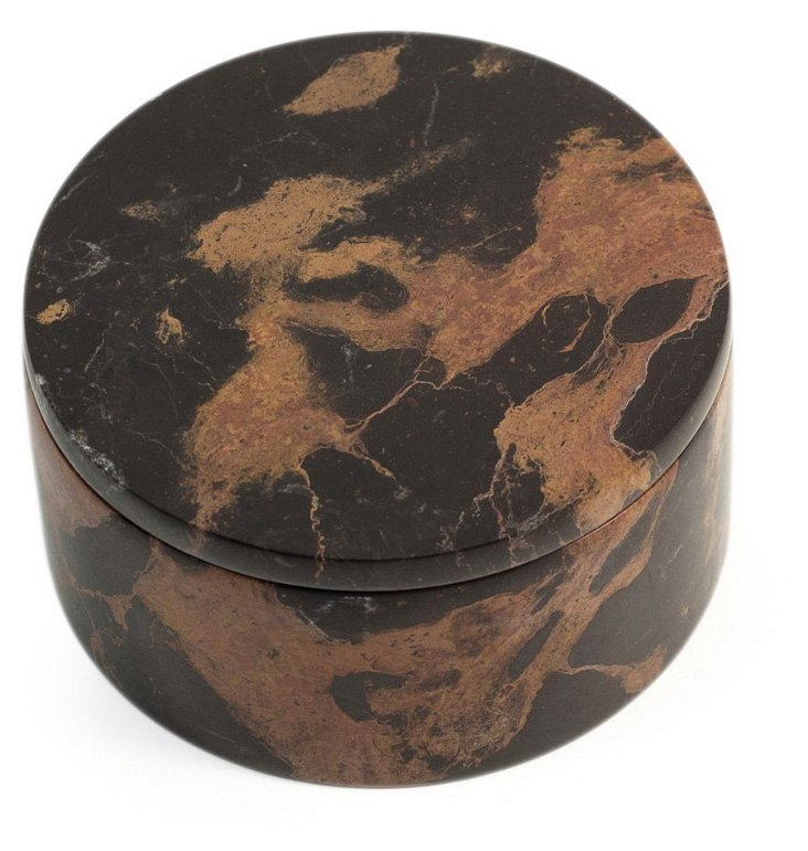 Marble Round Box, Brown/Tan