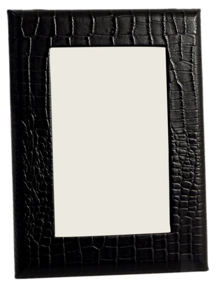 4x6 Leather Picture Frame, Black