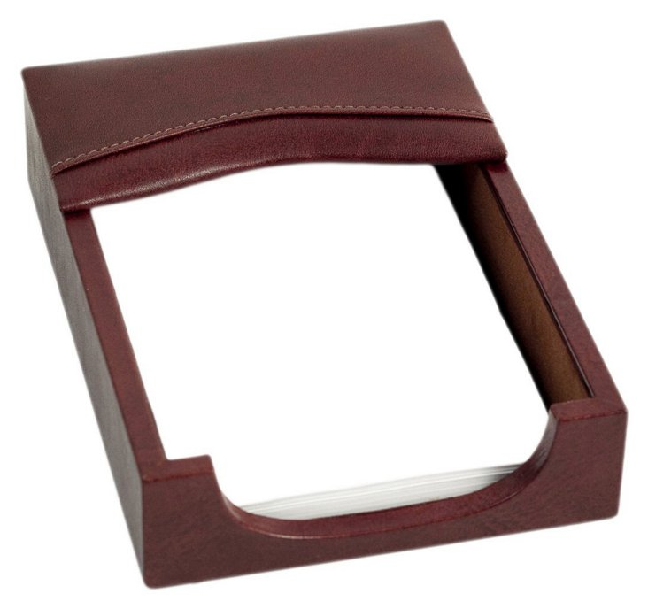 Leather Memo Holder, Brown