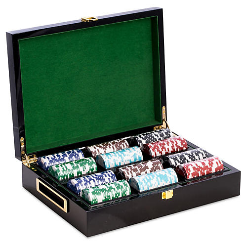 Wood Poker Set, Black