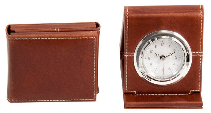 Alarm Clock, Oxford Brown Leather, T.P.