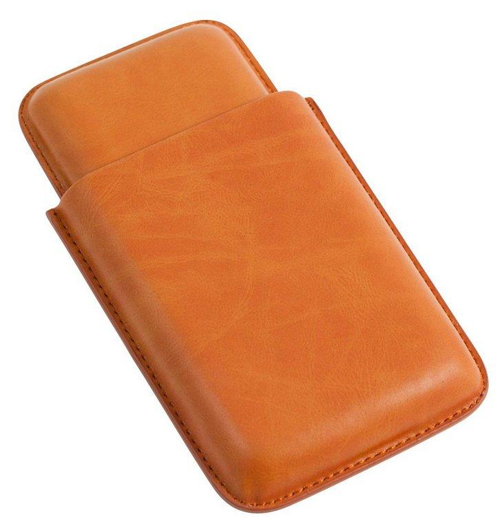 Three-Cigar Leather Case, Tan
