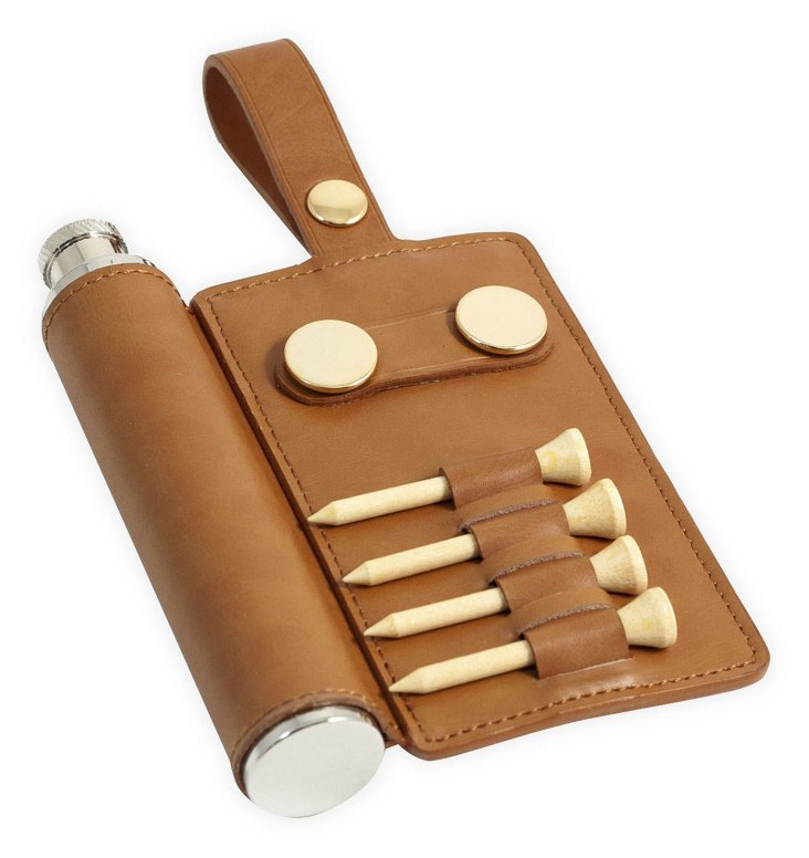 Leather Golf Set/Flask, Brown