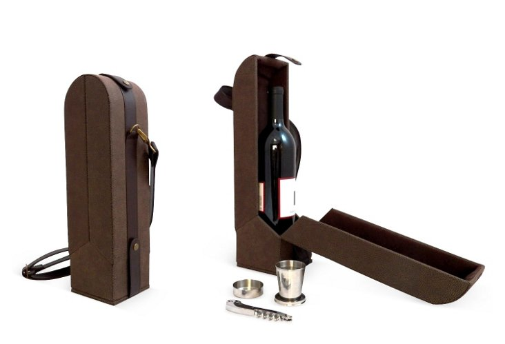 Wine Caddy w/ Cups, Brown