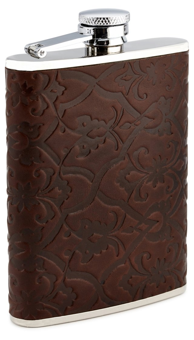 8 oz Leather Flask, Brown