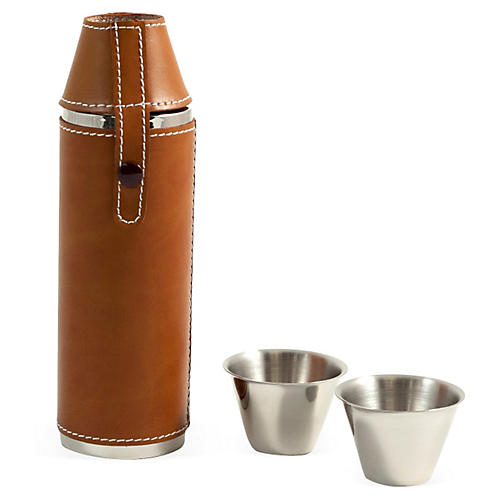 Leather 10 oz Flask w/ Cups, Saddle