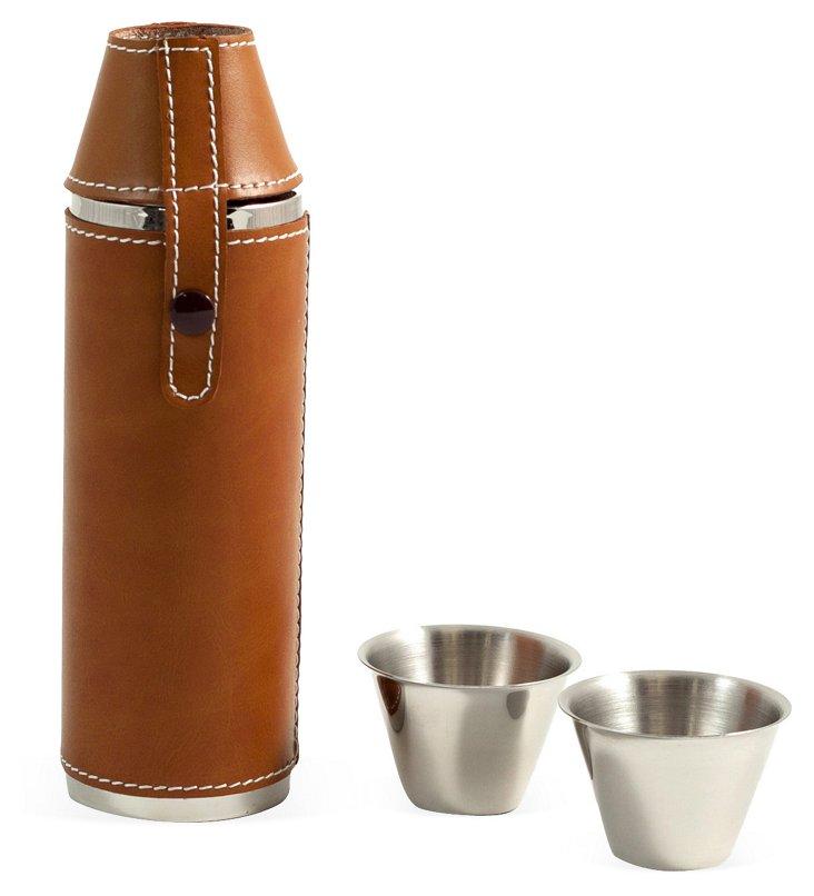 Leather 10 oz Flask w/ Cups, Saddle