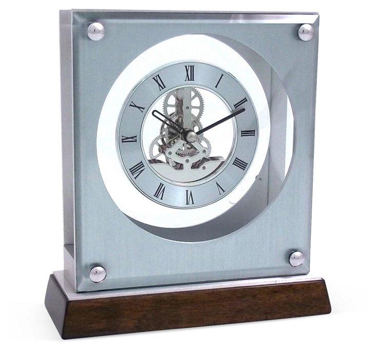 Skeleton Movement Quartz Clock, Silver
