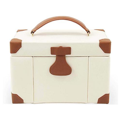 Large Leather Jewelry Box, Ivory/Cognac