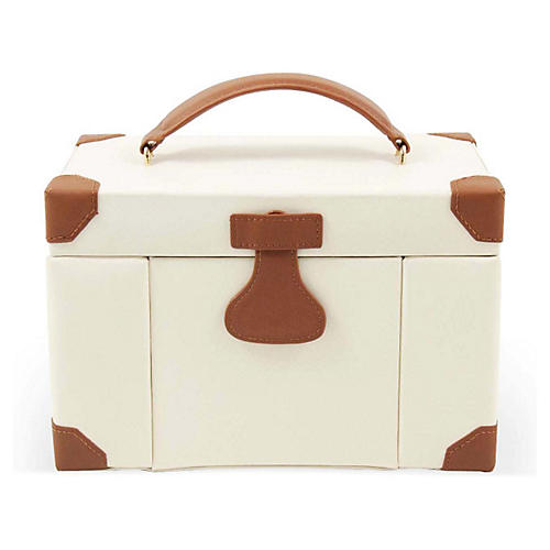 Large Leather Jewelry Box, Ivory/Cognac