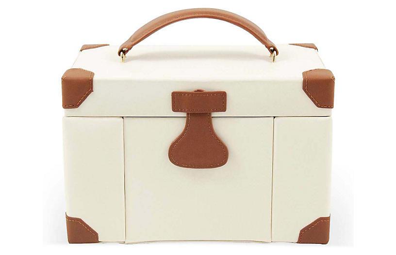 Large Leather Jewelry Box - Ivory/Cognac