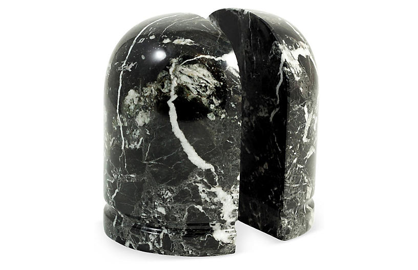 Pair of Zebra Marble Bookends, Black