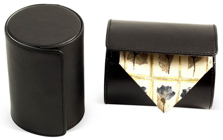 Leather Tie Roll, Black