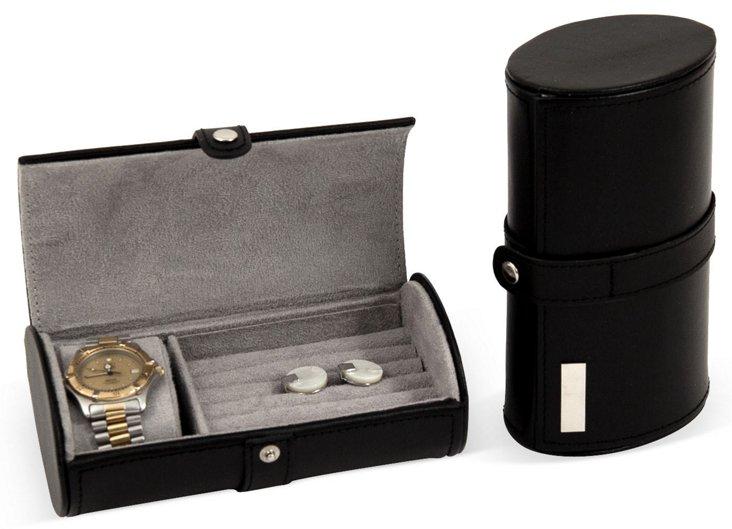 Leather Gentleman's Travel Case, Black