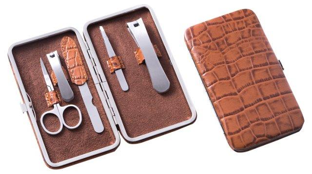 Croc-Embossed Manicure Set, Brown