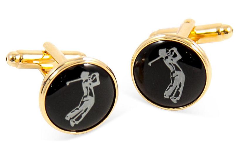 Golfer Cufflinks, Black/Gold