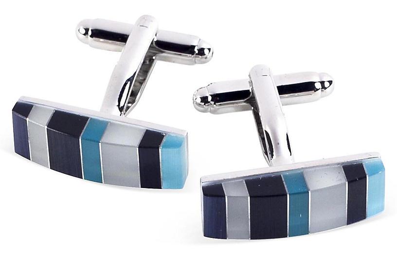 Striped Cufflinks, Blue/Multi