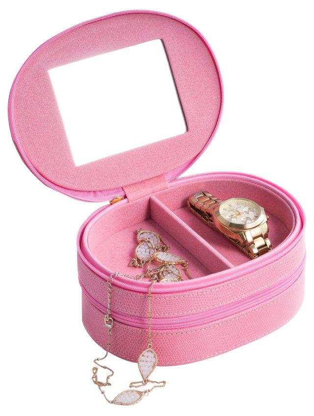 Leather Jewelry Box, Pink