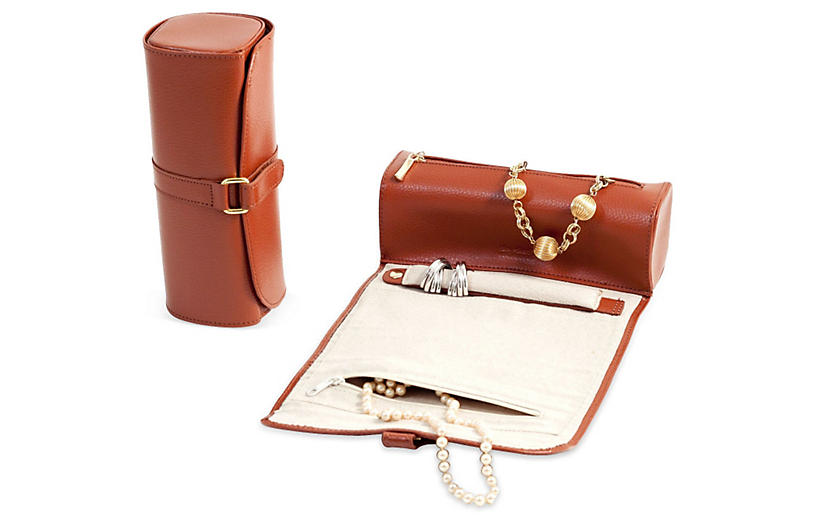 Leather Jewelry Roll - Cognac