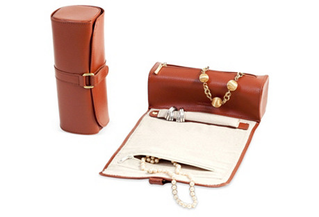Leather Jewelry Roll, Cognac