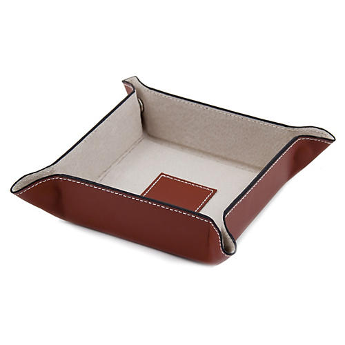 Leather Valet Tray, Saddle