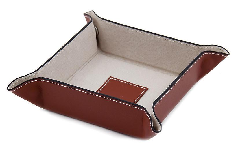 Leather Valet Tray, Saddle