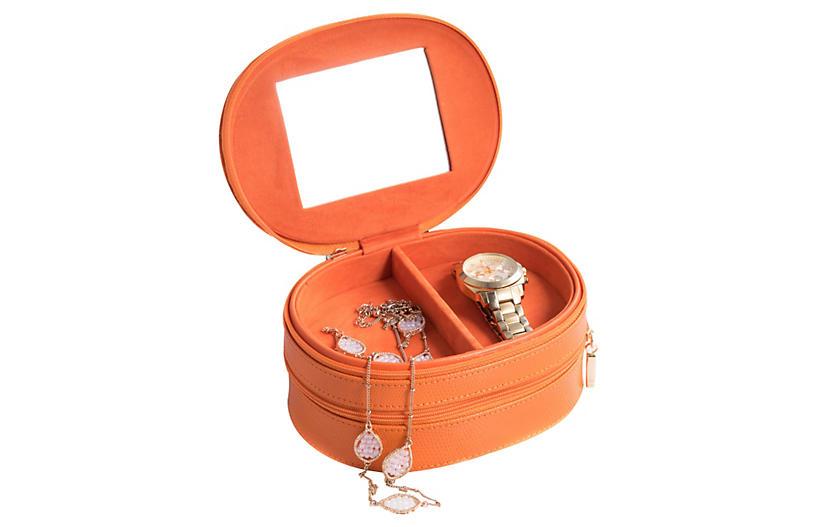 Leather Jewelry Box, Orange