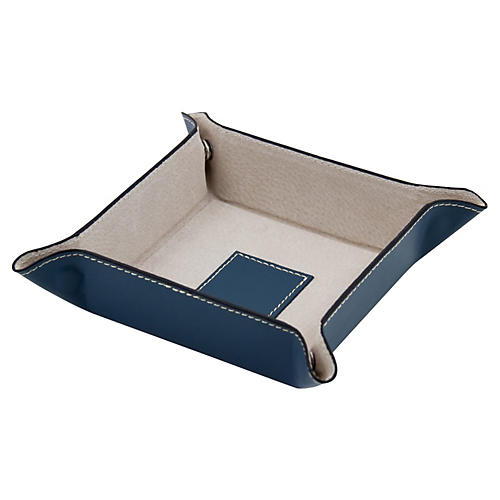Leather Valet Tray, Blue