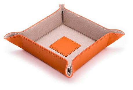 Leather Valet Tray, Orange