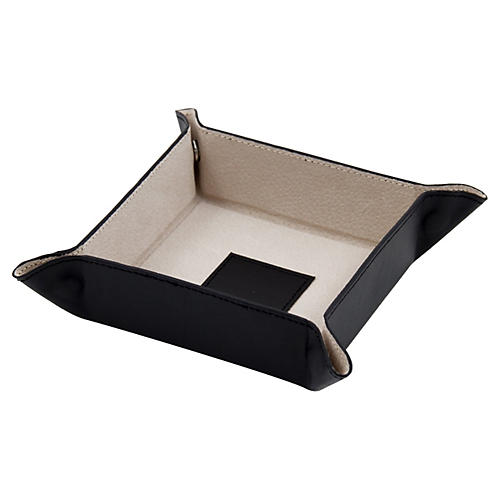 Leather Valet Tray, Black