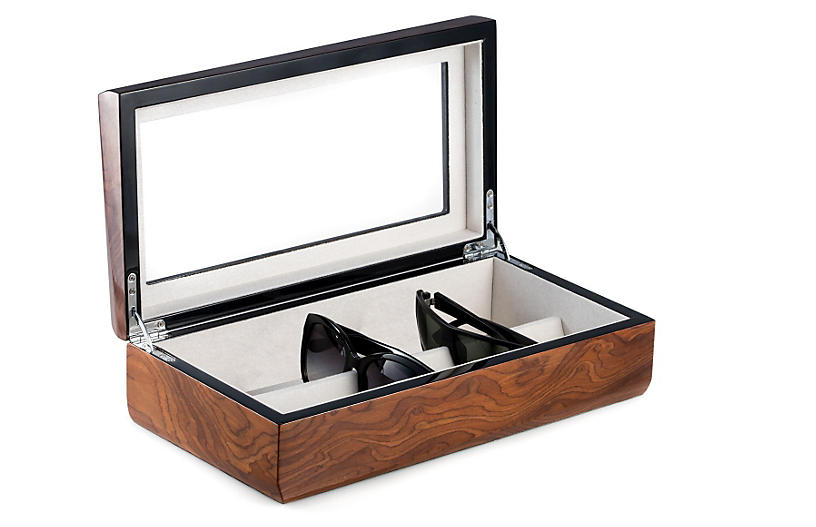 Burl Eyeglass Case, Brown