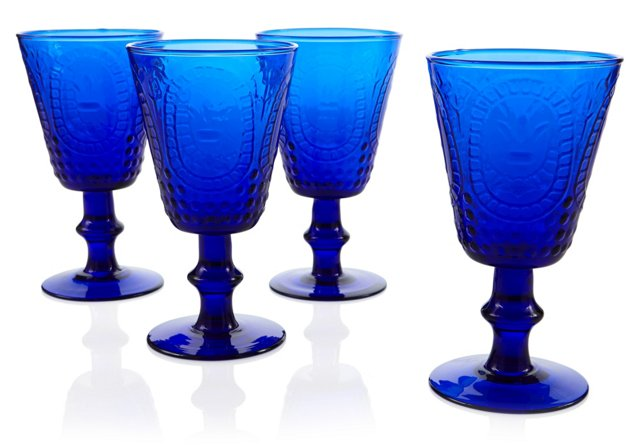 S/4 Embossed Wineglasses, Blue