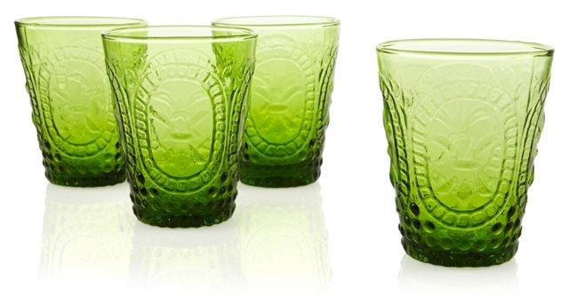 S/4 Embossed DOF Glasses, Green