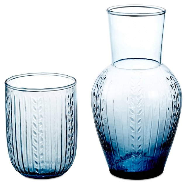 Laurel Carafe Set, Blue