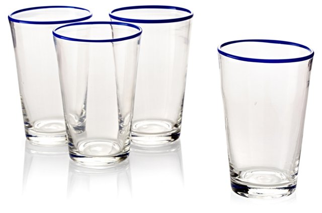 S/4 Handblown Highball Glasses, Navy
