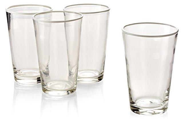 S/4 Handblown Highball Glasses, White