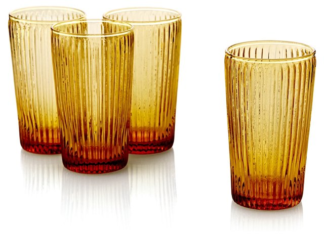 S/4 Ribbed Highball Glasses, Amber
