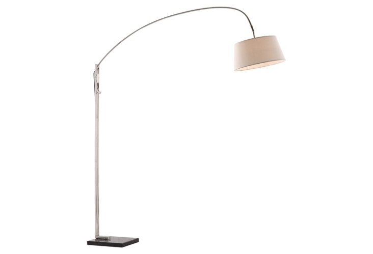 Waverly Floor Lamp, Satin Nickel