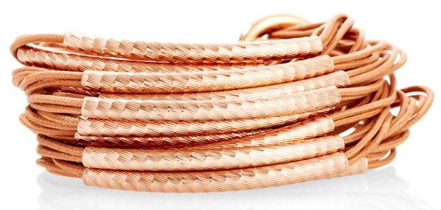 Rose Hammered Bracelet, Camel